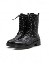 Street Rivet Bandage Cool Black Ankle Boots