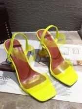 Patchwork Square Toe Clear Heel Ladies Sandal