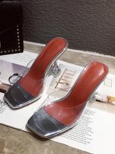 Casual Peep Toe Clear Heel Slip On Sandals
