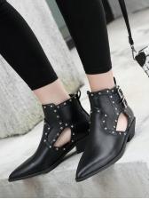 Rivet Hollow Out Buckle Girls Boots