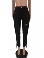 Tassel Mid Waist Black Ripped Jeans For Women