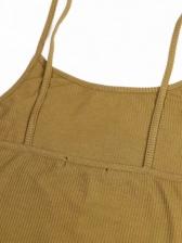 U Neck High Elastic Solid Sleeveless Bodycon Dress