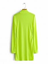 Mock Neck Bright Colors Long Sleeve Bodycon Dress
