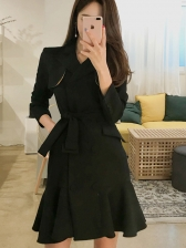 Flounce Hem Smart Waist Long Sleeve Blazer Dress