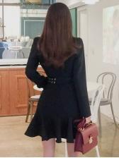 Flounce Hem Smart Waist Long Sleeve Blazer Dress