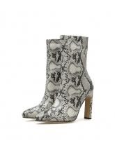 Snake Printed Above Ankle Heeled Boots