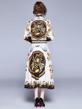 Vintage Style Large Hem Long Sleeve Maxi Dress