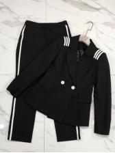 Ol Style Button Up Patchwork 2 Piece Pants Set
