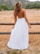 Sexy Backless Lace Panel White Maxi Dress