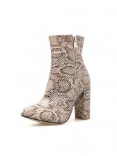 Street Snake Printed Chunky Heel Winter Boots