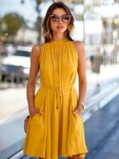 Crew Neck Sleeveless Tie-Wrap Yellow Dress