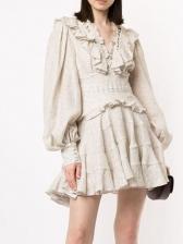 Boutique V Neck Backless Lantern Sleeve Polka Dot Dress