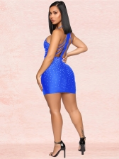 Rhinestone Decor Backless Sleeveless Bodycon Dress