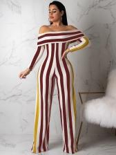Off Shoulder Striped Long Sleeve Jumpsuit