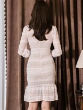 Fishtail Hem Hollow Out White Lace Dress