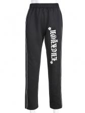 Elastic Waist Letter Straight Casual Pants For Women