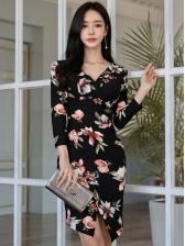 Deep V Neck Floral Long Sleeve Bodycon Dress