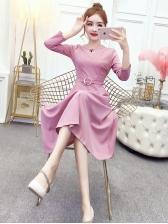 Elegant Solid Long Sleeve Women Dresses