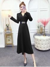 Graceful Notch Collar Long Sleeve Midi Dress