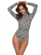 Animal Printed High Neck Long Sleeve Sexy Bodysuit