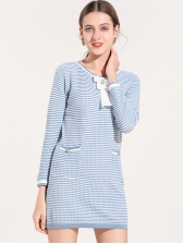 OL Style Pocket Striped Knitted Dresses