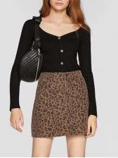 Leopard Printed High Waist Denim Skirt