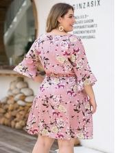 Plus Size Long Sleeve Floral Dress