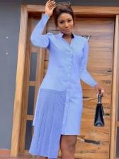 Chic Patchwork Long Sleeve Shirt Dress
