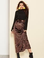 Solid High Waist Split Maxi Skirt