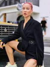 Solid Buckle Long Sleeve Blazers For Women