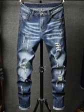 Slim Fit Mid Waisted Distressed Jeans