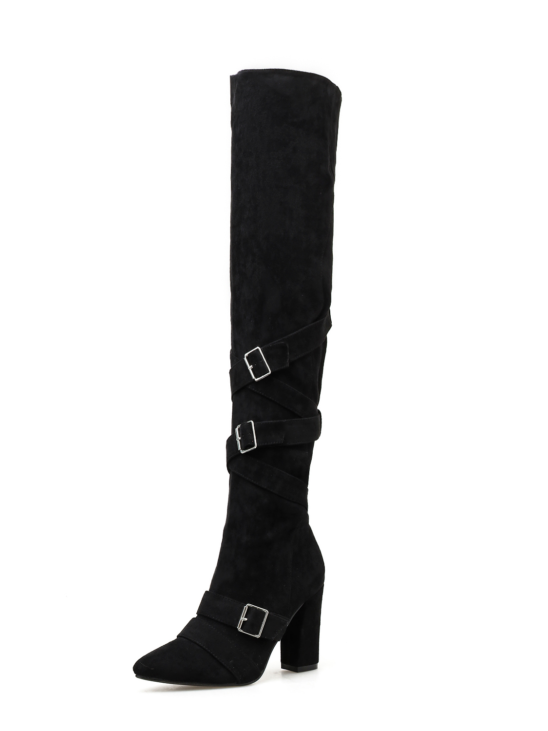 Cross Buckle Strap Solid Thigh High Boots