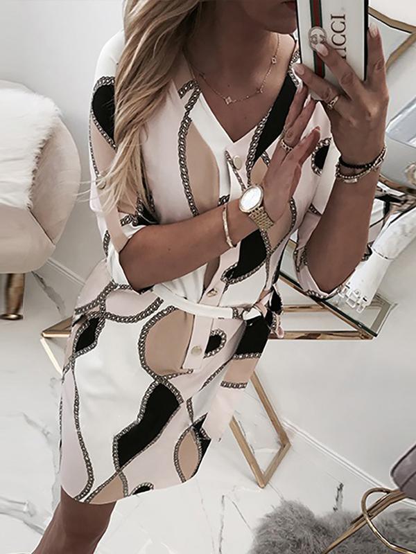Elegant Chain Printed Button Down Dresses