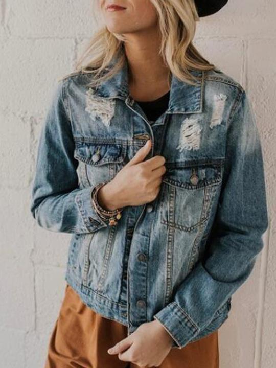 Fahion Solid Long Sleeve Short Hollow Denim Jacket