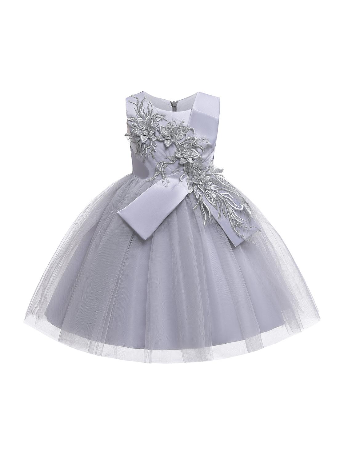 Cute Applique Gauze Patchwork Wedding Dresses For Girls
