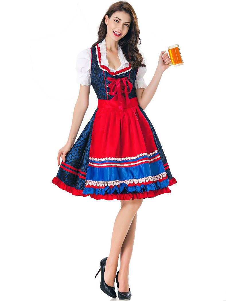 Contrast Color Maid Dress Halloween Costumes For Women