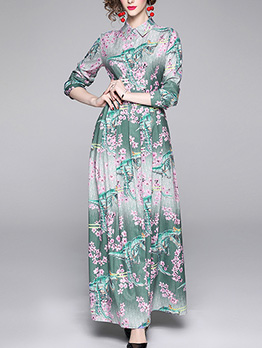 Floral Printed Fitted Long Sleeve Maxi Shirt Dress