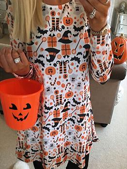 Halloween Pumpkin Printed Loose Long Sleeve Dress