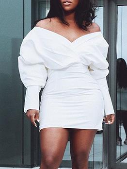 Off Shoulder Lantern Sleeve White Dress