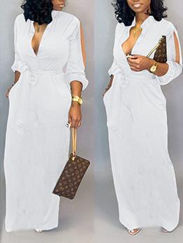 Deep V Neck Cold Shoulder Fitted White Maxi Dress
