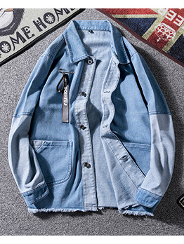 Stylish Loose Button Down Denim Jackets For Men