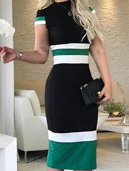 Contrast Color Short Sleeve Summer Dresses
