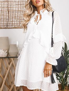 Stand Neck Ruffled SwissDot White Long Sleeve Dress