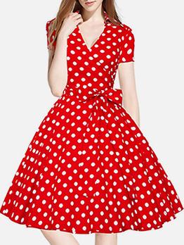 Audrey Hepburn Style Large Hem Polka Dots Dress