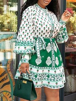 Tie Wrap Printing Lantern Sleeve Women Dresses