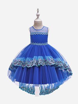 Elegant Gauze Patchwork Beading Gown For Girls