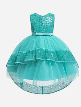 Graceful Sequined Gauze Patchwork Kids Party Dresses