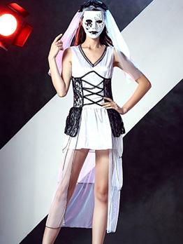 Tulle Stitching Sleeveless Dress Halloween Vampire Costume