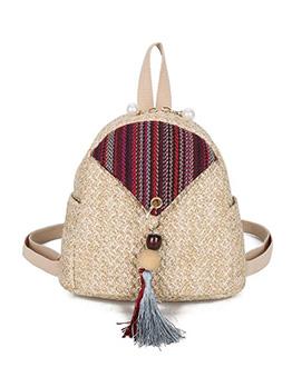 Tassel Decor Pearl Zipper Straw Mini Backpack