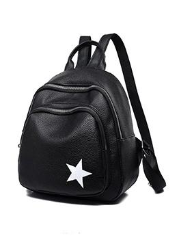 Pentagram Printed Multiple Zipper Backpacks For Women